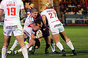 A Giants player almost reached the try line during the Betfred Super League match between Hull Kingston Rovers and Huddersfield Giants at the Hull College Craven Park  Stadium, Hull, United Kingdom on 21 February 2020.