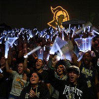 ORLANDO, FL - NOVEMBER 30: UCF students cheer with light sticks during a NCAA basketball game between the Missouri Tigers and the UCF Knights at the CFE Arena on November 30, 2017 in Orlando, Florida. (Photo by Alex Menendez/Getty Images) *** Local Caption ***