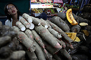 Desiree Pereira stand on a vegetables stand at the Quinta Crespo market in Caracas (Venezuela) Feb. 3, 2009 (Photo/Ivan Gonzalez)
