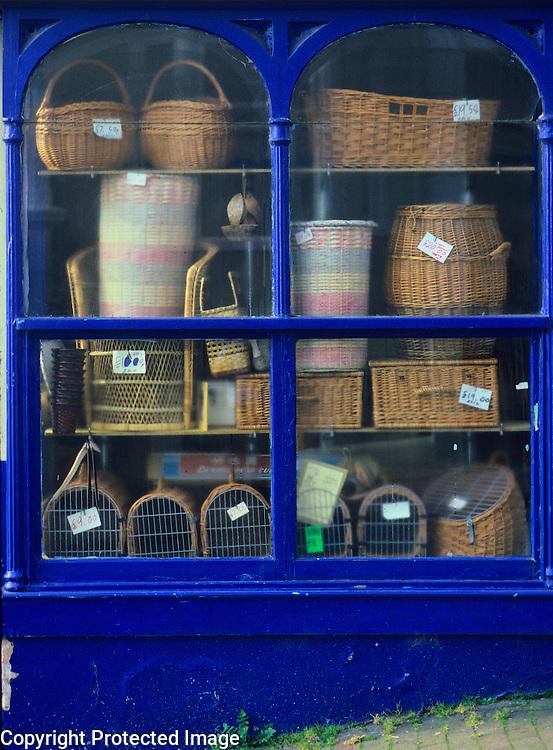 Baskets in shop window, Brighton, England, UK.