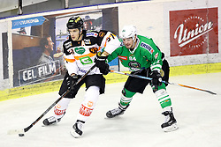 29.01.2017, Hala Tivoli, Ljubljana, SLO, EBEL, HDD Olimpija Ljubljana vs Moser Medical Graz 99ers, Platzierungsrunde, im Bild Daniel Woger of Graz 99ers vs Zan Luka Srpcic of Olimpija // during the Erste Bank Icehockey League placement round match between HDD Olimpija Ljubljana and Moser Medical Graz 99ers at the Hala Tivoli in Ljubljana, Slovenia on 2017/01/29. EXPA Pictures &copy; 2017, PhotoCredit: EXPA/ Sportida/ Morgan Kristan<br /> <br /> *****ATTENTION - OUT of SLO, FRA*****