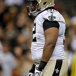 Aug 9, 2013; New Orleans, LA, USA; New Orleans Saints defensive tackle John Jenkins (92) against the Kansas City Chiefs during a preseason game at the Mercedes-Benz Superdome. The Saints defeated the Chiefs 17-13. Mandatory Credit: Derick E. Hingle-USA TODAY Sports