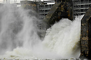 Duke Energy's Lake Wylie Dam open floodgates after flood event