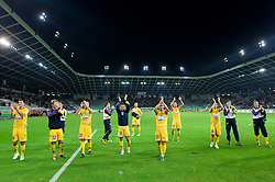 Players of Maribor celebrate after the football match between NK Olimpija and NK Maribor, played in the 4th Round of Prva liga football league 2010 - 2011, on September 29, 2010, in Stozice, Ljubljana, Slovenia. Maribor defeated Olimpija 1 - 0. (Photo by Vid Ponikvar / Sportida)