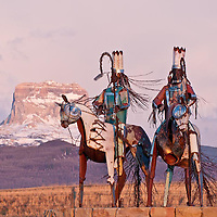 GNP Spring, chief mountain, iron horses, blackfeet reservation art