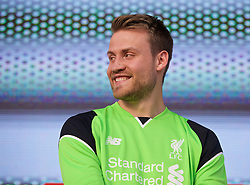 LIVERPOOL, ENGLAND - Monday, May 9, 2016: Liverpool's goalkeeper Simon Mignolet at the launch of the New Balance 2016/17 Liverpool FC kit at a live event in front of supporters at the Royal Liver Building on Liverpool's historic World Heritage waterfront. (Pic by Lexie Lin/Propaganda)