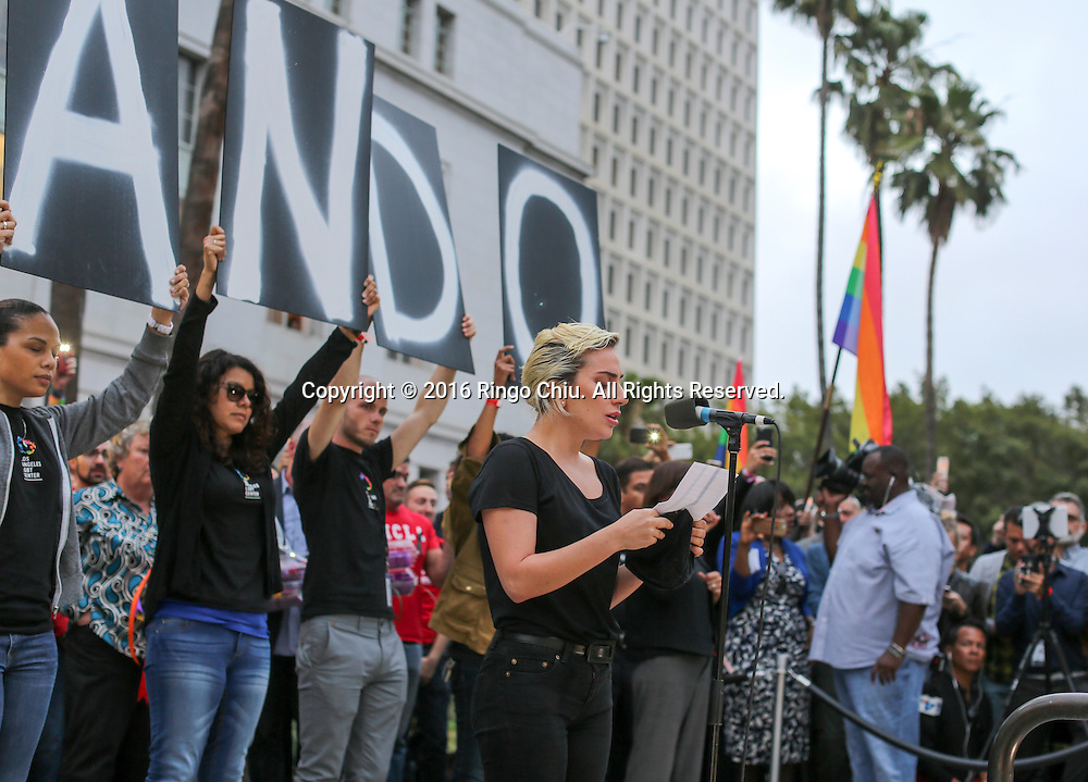 Singer Lady Gaga attends a candlelight vigil in front of the Los Angeles City Hall on Monday, June 13, 2016, the day after the shooting massacre at a gay nightclub in Orlando.(Photo by Ringo Chiu/PHOTOFORMULA.com)<br /> <br /> Usage Notes: This content is intended for editorial use only. For other uses, additional clearances may be required.