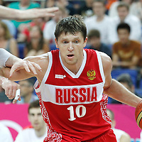 10 August 2012: Russia Victor Khryapa goes to the basket during 67-59 Team Spain victory over Team Russia, during the men's basketball semi-finals, at the North Greenwich Arena, in London, Great Britain.