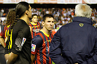 F.C. Barcelona´s goalkeeper Pinto (L) and Leo Messi after losing the Spanish Copa del Rey `King´s Cup´ final soccer match between Real Madrid and F.C. Barcelona at Mestalla stadium, in Valencia, Spain. April 16, 2014. (ALTERPHOTOS/Victor Blanco)