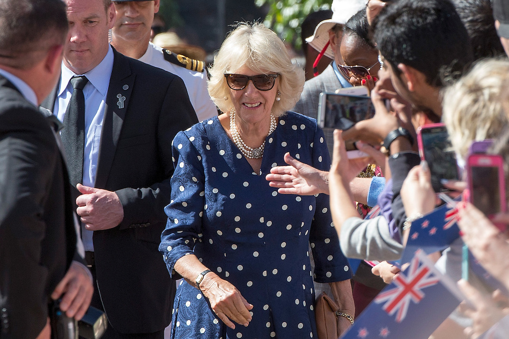 The Duchess of Cornwall on a walkabout to meet the public in Aotea Square, Auckland, New Zealand, on  Sunday, November 08, 2015. With The Prince of Wales they were making their way to an event in theTown Hall.  Credit: SNPA / David Rowland