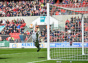 Bristol City goalkeeper Richard O-Donnell (12) is unable to prevent a free kick from Sheffield Wednesday midfielder Ross Wallace (33) to make the score 4-1 during the Sky Bet Championship match between Bristol City and Sheffield Wednesday at Ashton Gate, Bristol, England on 9 April 2016. Photo by Adam Rivers.