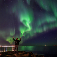 "Me ""creating"" the northern lights in Iceland."