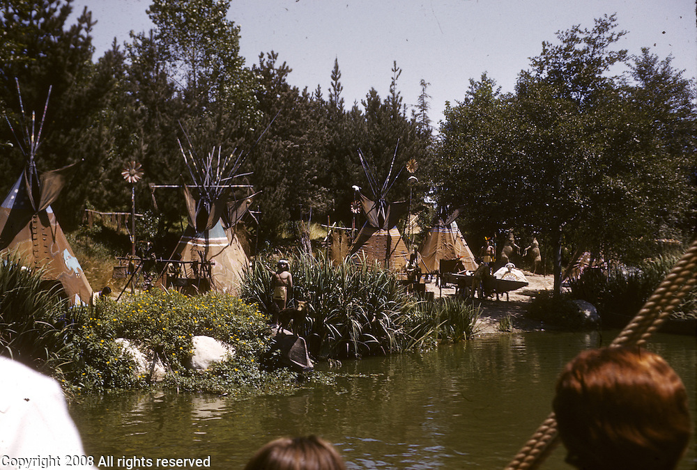 Post-modern simulacra of a Native American camp. Disneyland vacation Kodachromes from 1962.