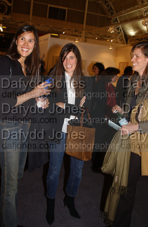 Andrea Ricks, ? Elizabeth Saltzman and Jess O'Connor, Art 2003 London Art Fair opening. Business Design Centre.  14 January 2003. © Copyright Photograph by Dafydd Jones 66 Stockwell Park Rd. London SW9 0DA Tel 020 7733 0108 www.dafjones.com