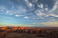 Morning light on famous formations from Hunts Mesa, Monument Valley Tribal Park, Arizona