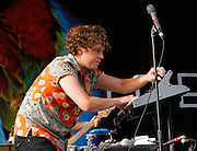 Ed Macfarlane of Friendly Fires performs at the Central Park SummerStage on August 7, 2011 in New York City.