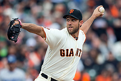SAN FRANCISCO, CA - APRIL 09:  Madison Bumgarner #40 of the San Francisco Giants pitches against the Los Angeles Dodgers during the first inning at AT&T Park on April 9, 2016 in San Francisco, California.  (Photo by Jason O. Watson/Getty Images) *** Local Caption *** Madison Bumgarner