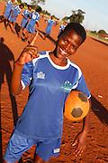 Mandinda Lufano Lucie of Khubvi girls football club. Khubivi Village. Nr Thohoyandou. Venda. Limpopo Province. South Africa. Action Aid/UK
