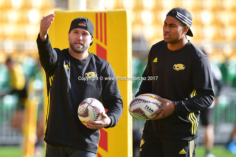 Hurricanes Julian Savea (R works with Cory Jane during the Hurricanes captains run at Westpac Stadium in Wellington on Friday the 26th of June 2017. Copyright Photo by Marty Melville / www.Photosport.nz