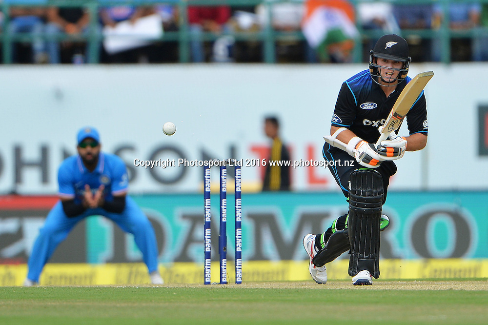 Tom Latham of New Zealand bats during the 1st one day match India against New Zealand in HPCA stadium Dharamsala, India, Sunday, Oct 16, 2016.