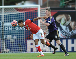 Bristol City's Korey Smith jostles for the ball with West Ham's Kevin Nolan - Photo mandatory by-line: Dougie Allward/JMP - Mobile: 07966 386802 - 25/01/2015 - SPORT - Football - Bristol - Ashton Gate - Bristol City v West Ham United - FA Cup Fourth Round