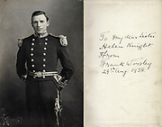 Captain Frank Worsley, Shackleton's captain, in Merchant Navy uniform - signature from inside his fbook First Voyage