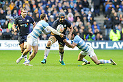 Josh Strauss under pressure during the Autumn Test match between Scotland and Argentina at Murrayfield, Edinburgh, Scotland on 24 November 2018.