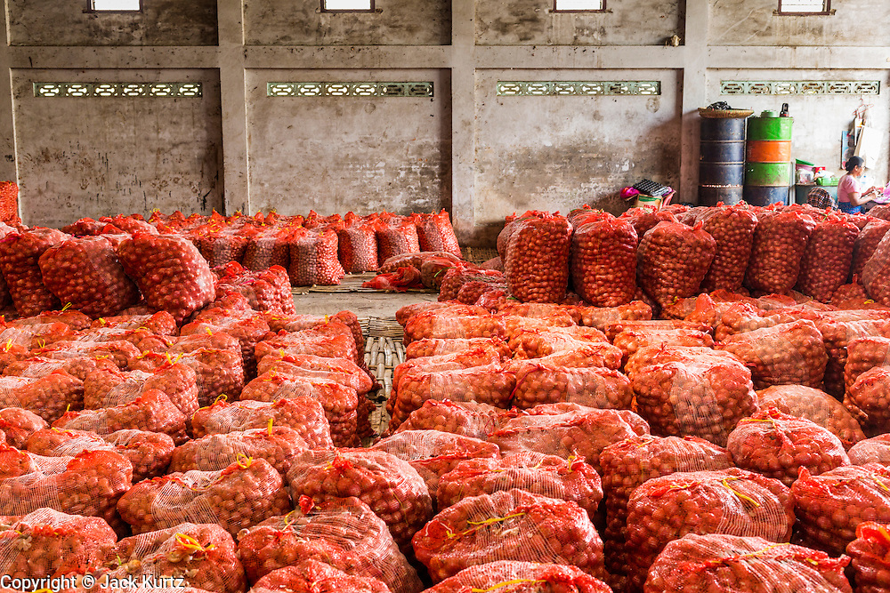 02 MARCH 2014 - MYAWADDY, KAYIN, MYANMAR (BURMA):  An onion warehouse in Myawaddy, Myanmar. The onions will be exported to Thailand. Myawaddy is separated from the Thai border town of Mae Sot by the Moei River. Myawaddy is the most important trading point between Myanmar (Burma) and Thailand.     PHOTO BY JACK KURTZ
