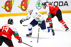Jan Drozg of Slovenia and Andra Benk of Hungary during ice hockey match between Hunngary and Kazakhstan at IIHF World Championship DIV. I Group A Kazakhstan 2019, on May 3, 2019 in Barys Arena, Nur-Sultan, Kazakhstan. Photo by Matic Klansek Velej / Sportida