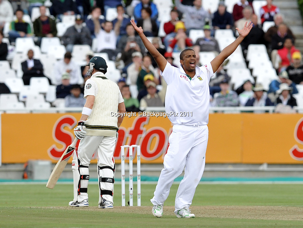 Vernon Philander appeals for the wicket of Michael Clark of Australia. South Africa v Australia, first test, day 1, Newlands, South Africa. 9 November 2011.<br /> <br /> &copy;Ryan Wilkisky/BackpagePix