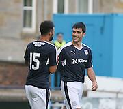 Kane Hemmings congratulates fellow goalscorer Julen Etxabeguren after the Spaniard had doubled Dundee's lead - Raith Rovers v Dundee, pre-season friendly at Starks Park<br /> <br />  - &copy; David Young - www.davidyoungphoto.co.uk - email: davidyoungphoto@gmail.com