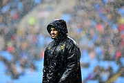 Wasps hooker TJ Harris (16) stands in the rain during the Aviva Premiership match between Wasps and London Irish at the Ricoh Arena, Coventry, England on 4 March 2018. Picture by Dennis Goodwin.