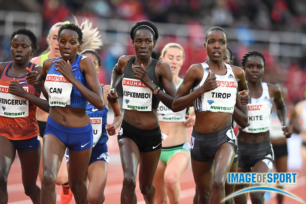 Agnes Tirop (KEN) wins the women's 5,000m in 14:50.82 during the Bauhaus-Galan in a IAAF Diamond League meet at Stockholm Stadium in Stockholm, Sweden on Thursday, May 30, 2019. From left: Lilian Kasait Rengerunk (KEN), Yasemin Can (TUR), Margaret Kipkemboi (KEN) and Tirop  (Jiro Mochizuki/Image of Sport)