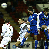 St Johnstone v Airdrie..  04.02.03<br />No 10 Paddy Connolly heads in the opening goal for St Johnstone<br /><br />Pic by Graeme Hart<br />Copyright Perthshire Picture Agency<br />Tel: 01738 623350 / 07990 594431