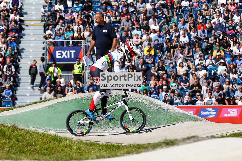 World No1 Sylvian Andre (FRA) inforn to a packed stand at the Glasgow BMX Centre during the European Championships.