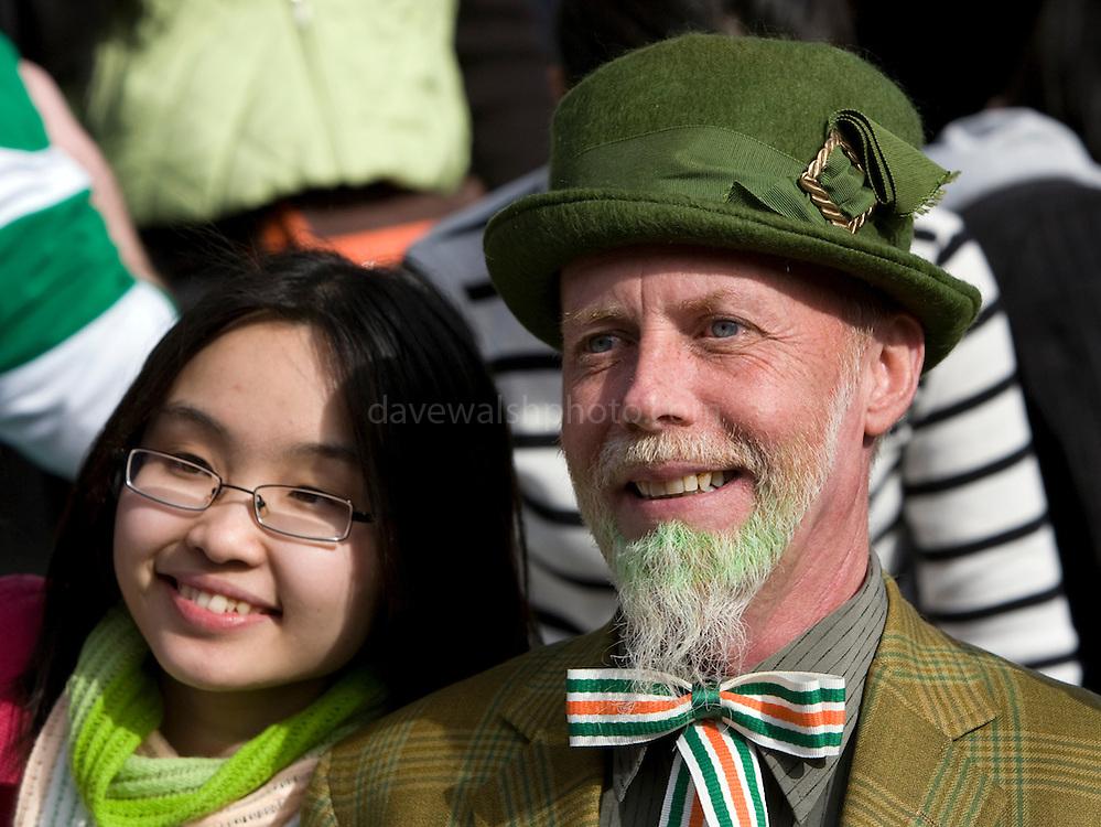 Asian girl and Leprechaun, Dublin, St. Patrick's Day, 2009