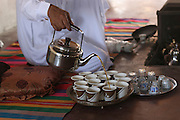 Bedouin Hospitality - serving tea to visitors. Israel, Negev Desert