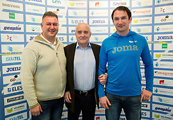 Vladimir Kevo, Martin Steiner and Primoz Kozmus during press conference when Slovenian athletes and their coaches sign contracts with Athletic federation of Slovenia for year 2016, on February 25, 2016 in AZS, Ljubljana, Slovenia. Photo by Vid Ponikvar / Sportida