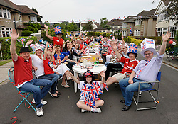 © Licensed to London News Pictures. 02/06/2012. Bristol, UK. Street Party in Great Brockeridge, Westbury-on-Trym, Bristol.  The Royal Jubilee celebrations. Great Britain is celebrating the 60th  anniversary of the countries Monarch HRH Queen Elizabeth II accession to the throne this weekend Photo credit : Simon Chapman/LNP
