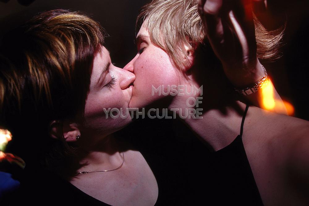 Two girls kissing at The Dog Star Brixton London April 2002