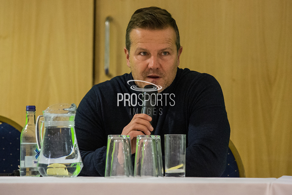 Forest Green Rovers manager, Mark Cooper during the 2018 Fans Forum for Forest Green Rovers at the New Lawn, Forest Green, United Kingdom on 30 October 2018.