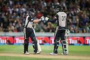 Black Cap's Kane Williamson and Black Cap's Martin Guptill during their unbeaten opening partnership during the second T20 match of the ANZ International T20 series - New Zealand Black Caps v Pakistan played at Seddon Park, Hamilton, New Zealand on Sunday 17 January 2016. Copyright Photo:  Bruce Lim / www.photosport.nz