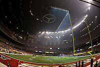 3 February 2013: The lights go out during the third quarter of the Baltimore Ravens 34-31 victory over the San Francisco 49ers in Superbowl XLVII at the Mercedes-Benz Superdome in New Orleans, LA.