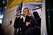 Frankfurt am Main | 02 Feb 2015<br /> <br /> Am Montag (02.02.2015) demonstrierten in Frankfurt an der Hauptwache etwa 60 PEGIDA-Anh&auml;nger mit teils extrem rassistischen Reden und Parolen z.B: gegen &quot;Islamisierung&quot;, an den Aktionen gegen die Rechtsextremisten nahmen mehrere tausend Menschen teil.<br /> Hier: PEGIDA-Organisatorin Heidi Mund h&auml;lt eine Rede.<br /> <br /> &copy;peter-juelich.com<br /> <br /> [No Model Release | No Property Release]