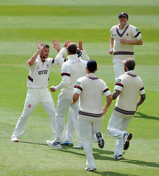 Somerset's Lewis Gregory celebrates the wicket of Middlesex's Nick Compton. - Photo mandatory by-line: Harry Trump/JMP - Mobile: 07966 386802 - 27/04/15 - SPORT - CRICKET - LVCC Division One - County Championship - Somerset v Middlesex - Day 2 - The County Ground, Taunton, England.