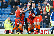 Wycombe players celebrate promotion to League One during the EFL Sky Bet League 2 match between Chesterfield and Wycombe Wanderers at the b2net stadium, Chesterfield, England on 28 April 2018. Picture by Paul Thompson.