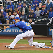 NEW YORK, NEW YORK - APRIL 11: Lucas Duda, New York Mets, playing at first base during the Miami Marlins Vs New York Mets MLB regular season ball game at Citi Field on April 11, 2016 in New York City. (Photo by Tim Clayton/Corbis via Getty Images)