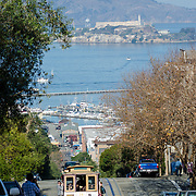 Alcatraz prison viewed from Russian Hill.
