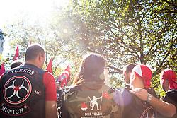 19.10.2014, Muenchen, GER, Aufmarsch von tuerkischen Nationalisten gegen die PKK, Der Rockerclub 'Turkos MC' rief zu einer Demonstration gegen die PKK auf. Laut Polizeiangaben hatte der Aufmarsch 200 Teilnehmer, weitere 50 Rocker fuhren auf Motorraedern vorneweg. Ein Grossteil der Teilnehmer trug Symboliken der nationalistischen 'Grauen Woelfe' und der MHP, viele zeigten immer wieder den sog. 'Wolfsgruss', im Bild MC Turkos-Mitglieder // during a parade by Turkish nationalists against the PKK. Rockers of 'Turcos MC' called for a demonstration against the PKK. According to police, the march had 200 participants, another 50 Rocker went on motorcycles in front. A majority of the participants wore symbolism of the nationalist 'Grey Wolves' and the MHP, many showed again the so-called 'Wolf greeting', Munich, Germany on 2014/10/19. EXPA Pictures © 2014, PhotoCredit: EXPA/ Eibner-Pressefoto/ Gehrling<br /> <br /> *****ATTENTION - OUT of GER*****