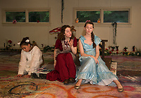 "The Baker's Wife (Chelsea Sasserson) tries to convince Cinderella (Mae Kenny) to give her one of her slippers during dress rehearsal for ""Into The Woods"" with SKYT  Streetcar Kids and Youth Theater on Monday evening at the Gilford Methodist Church.   (Karen Bobotas/for the Laconia Daily Sun)"